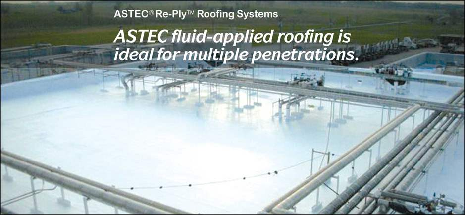 ASTEC fluid-applied roofing is ideal for multiple penetrations.
